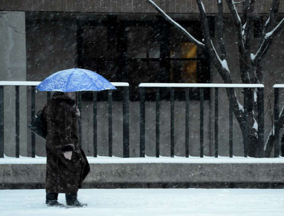 A pedestrian walks in the snow on Central Avenue Wednesday morning, Jan. 16, 2013, in Albany, N.Y. (Skip Dickstein/Times Union) Photo: SKIP DICKSTEIN / 00020789A