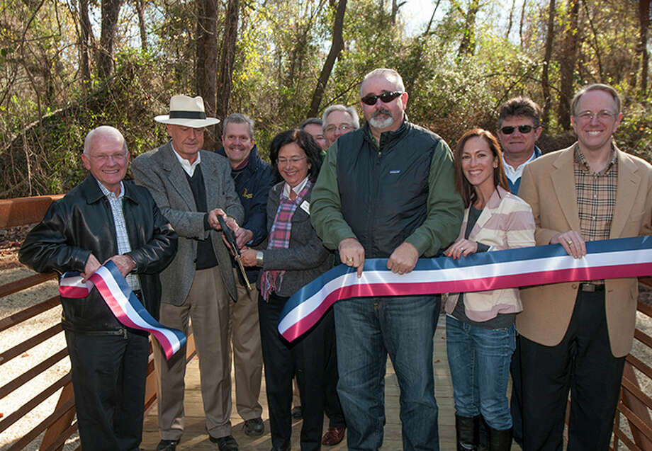 The George Mitchell Nature Preserve Pedestrian Bridge, which spans Spring Creek, recently opened with a ribbon-cutting ceremony Jan. 9. / Copyright©Ted Washington