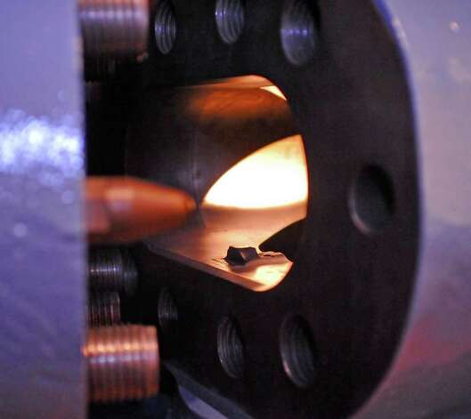 This is the inside of the left side of an exposed blowout preventer that is on display.  The Texas Energy Museum, located in downtown Beaumont, offers a unique look to visitors at the world of  petroleum science, from how oil comes into being, is pulled from the ground, to how it gets into our daily lives.  It also offers artistic shapes, designs, colors, and abstracts if one knows where to look for them.  Dave Ryan/The Enterprise
