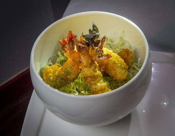 The tempura shrimp is served with noodles and yuzu aioli. Photo: John Storey, Special To The Chronicle