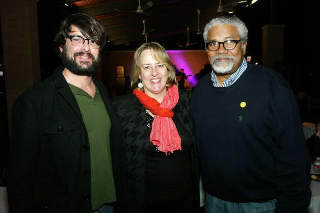 OTS/HEIDBRINK - KRTU music director Kory Cook, from left, SAMA director Katie Luber and SAMA board member Anthony Edwards gather at the SAMA Art Party at the San Antonio Museum of Art on 1/11/2013. This is #1 of 2 photos. names checked photo by leland a. outz Photo: LELAND A. OUTZ, SPECIAL TO THE EXPRESS-NEWS / SAN ANTONIO EXPRESS-NEWS
