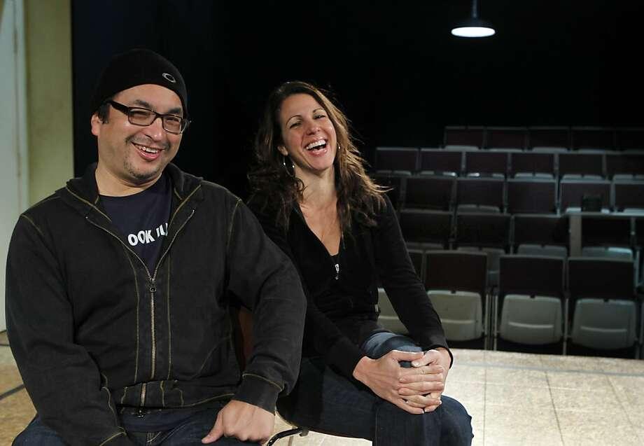 "Playwright Octavio Solis and Director Loretta Greco work on the premiere of ""Se Llama Cristina"" at the Magic Theatre. Photo: Paul Chinn, The Chronicle"