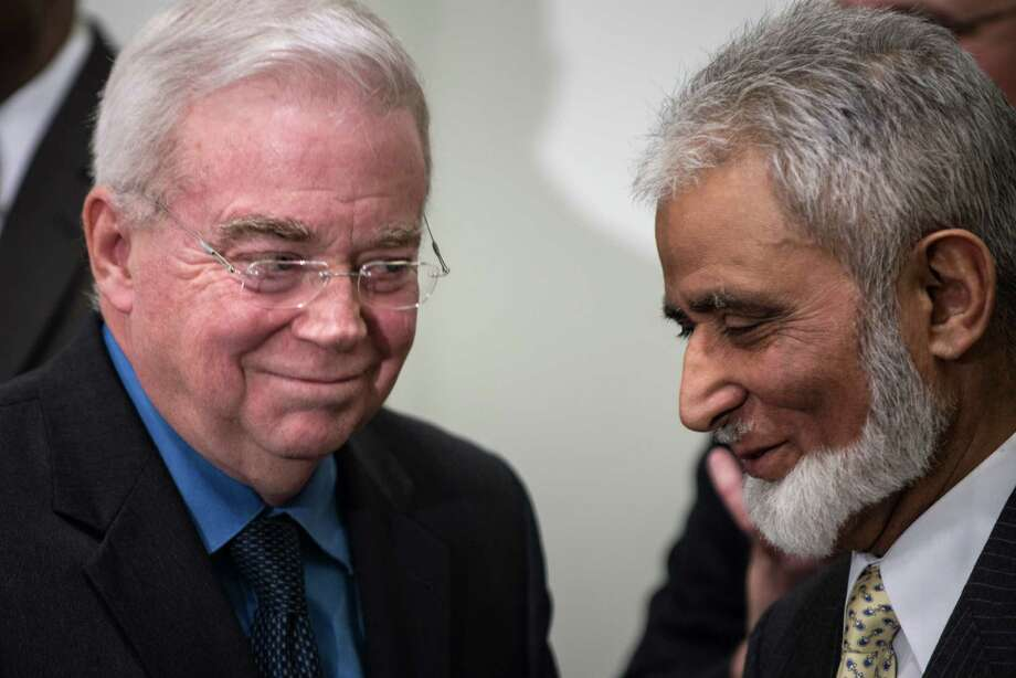 Jim Wallis, president and CEO of Sojourners, and Sayyid Syeed(R) of the Islamic Society of North America, smile at each other after speaking during a press conference at the United Methodist Building January 15, 2013 in Washington, DC. The group of religious leader organized by Faiths United to Prevent Gun Violence held the news conference to speak out against gun violence and call for gun law reform including a ban on assault style weapons and universal background checks.  AFP PHOTO/Brendan SMIALOWSKIBRENDAN SMIALOWSKI/AFP/Getty Images Photo: BRENDAN SMIALOWSKI, AFP/Getty Images / 2012 Brendan Smialowski