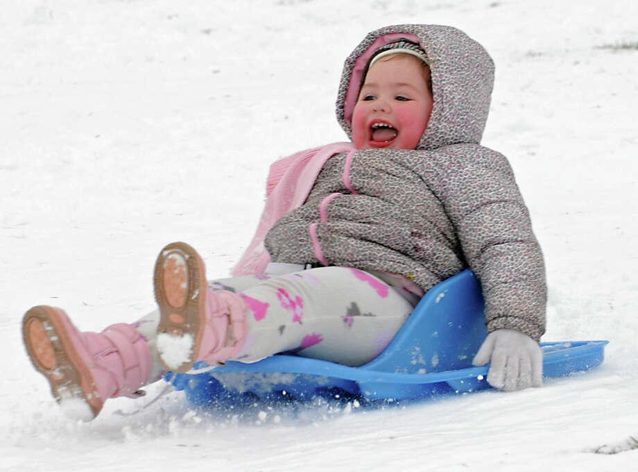 2-yr-old Adrianna Wescott of Wynantskill screams with joy while sledding down a hill at Frear Park on Wednesday Jan. 16, 2013 in Troy, N.Y.  (Lori Van Buren / Times Union) Photo: Lori Van Buren