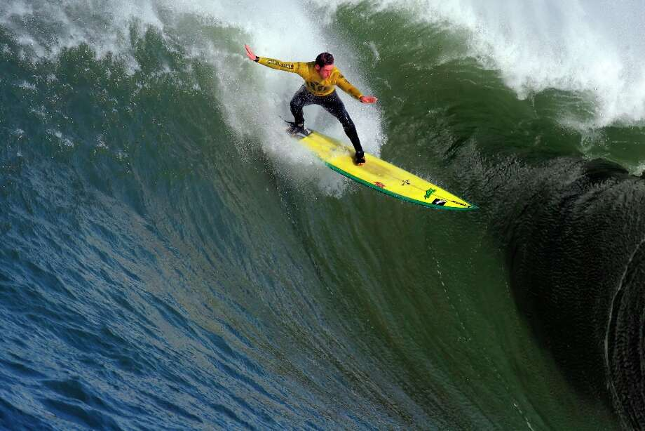 Ion Banner tries to catch a wave, but eventually wipes out on this one in the first heat. Surfers from around the globe braved the 50-foot-high swells at Mavericks Surf Contest in Half Moon Bay, Calif., on Saturday, February 13, 2010. Chris Bertish of South Africa was selected the winner. Photo: Carlos Avila Gonzalez, The Chronicle / SFC