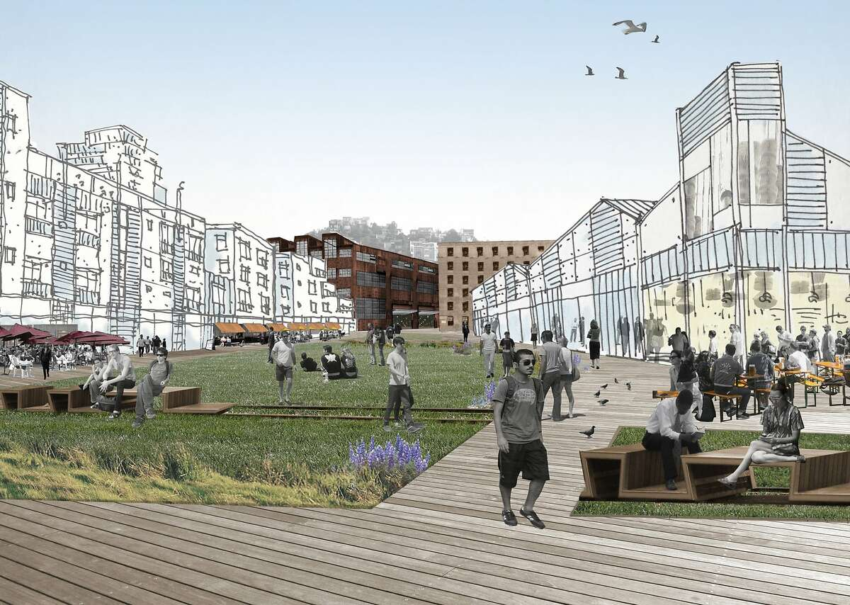 A rendering of the Slipways Promenade area of the proposed development of Pier 70, one of several mostly vacant areas along the San Francisco waterfront where developers seek to build large projects.