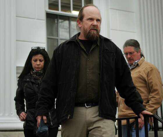 Kenny Krakowski, father of Ashlie Krakowski, leaves Superior Court in Milford following the sentencing of former Milford police officer Jason Anderson on Wednesday, January 16, 2013. Anderson received a sentence of ten years suspended after five for two counts of misconduct with a motor vehicle and one count of reckless driving for the high speed crash that killed Orange teens David Servin and Ashlie Krakowski on June 13, 2009 on the Post Road in Orange. Photo: Brian A. Pounds