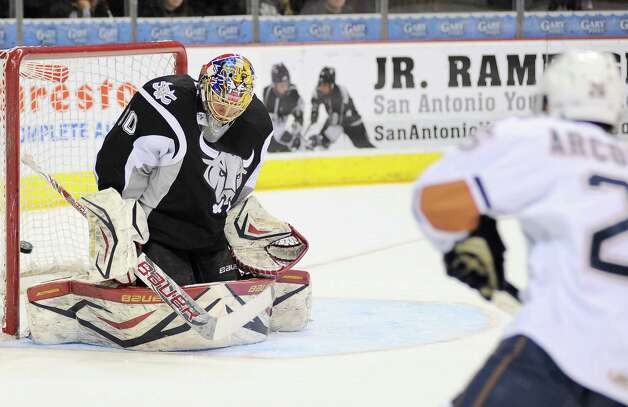 San Antonio Rampage goaltender Jacob Markstrom is scored on during the first period of an AHL hockey game against the Oklahoma City Barons, Sunday, Dec. 9, 2012, in San Antonio. Photo: Darren Abate, Darren Abate/pressphotointl.com / Darren Abate/pressphotointl.com