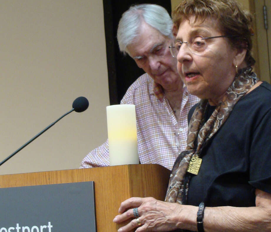 "Estelle Margolis, scheduled to appear in court Friday for bringing a BB rifle to a Representative Town Meeting on gun control last week, is shown speaking to an October 2011 memorial service for her late husband, the civil-liberties lawyer Emanuel ""Manny"" Margolis.  WESTPORT NEWS, CT 1/16/13 Photo: File Photo / Westport News"