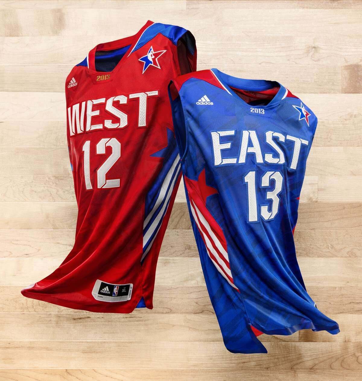 The NBA unveiled the 2013 All-Star uniforms, including a Swingman jersey at $100 and a replica at $55. The shirts will be available at the Houston Rockets Team Shop, Academy and Champs.