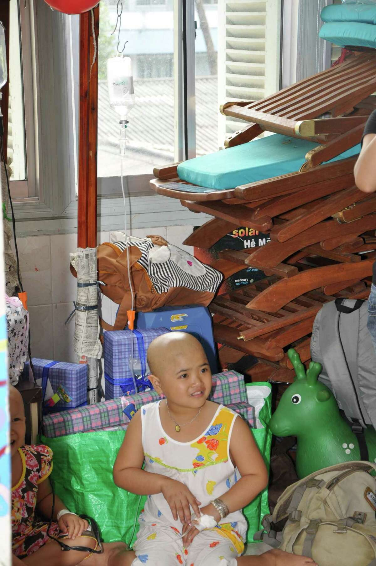 A girl in the playroom in Oncology Hospital in Ho Chi Minh City.