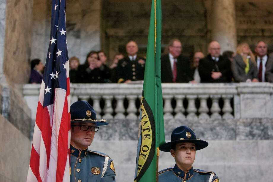 Washington State Patrol officers stand at attention. Photo: JOSHUA TRUJILLO, SEATTLEPI.COM / SEATTLEPI.COM