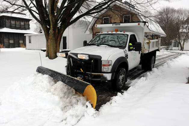 A Town of Stratford truck plows snow in Boothe Memorial Park, in Stratford, Conn., Jan 16th, 2013. Photo: Ned Gerard / Connecticut Post