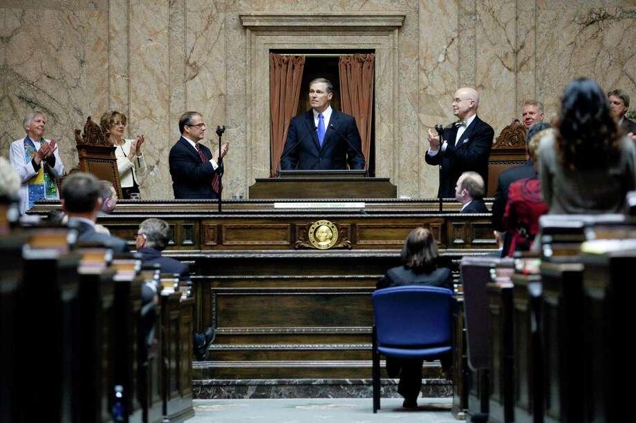 Inslee gives his inaugural address in the House Chambers. Photo: JOSHUA TRUJILLO, SEATTLEPI.COM / SEATTLEPI.COM