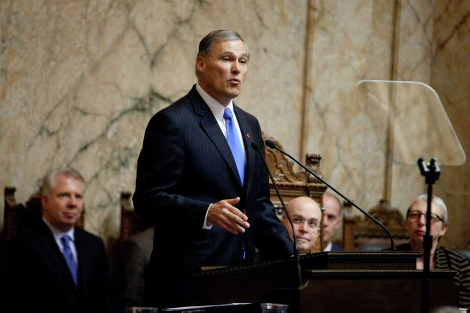 Washington State Governor Jay Inslee gives his inaugural address in the House Chambers. Photo: JOSHUA TRUJILLO, SEATTLEPI.COM / SEATTLEPI.COM