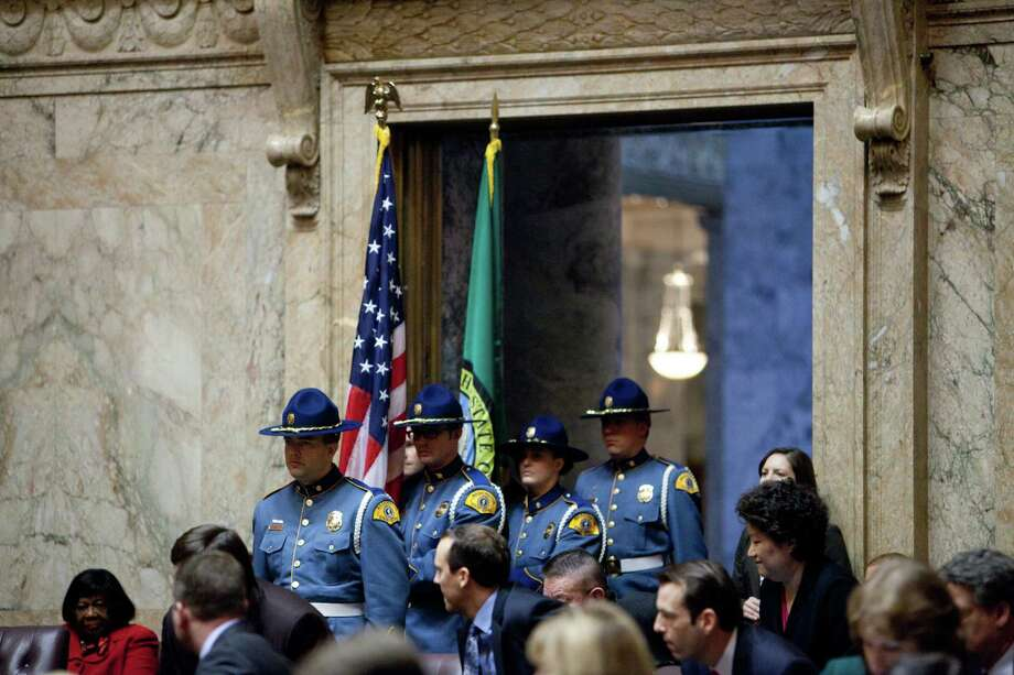 A Washington State Patrol Color Guard stands at attention before the inaugural address of Governor Jay Inslee. Photo: JOSHUA TRUJILLO, SEATTLEPI.COM / SEATTLEPI.COM