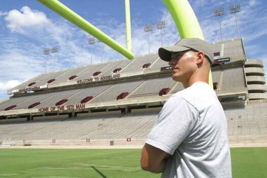"Josh Amstutz says it's ""an amazing feeling"" to suit up for Texas A&M at Kyle Field in 2004. Amstutz, an Iraq veteran, inspired fellow Aggies as a walk-on safety at Texas A&M. Photo: Courtesy Photo / 12 Man Magazine"
