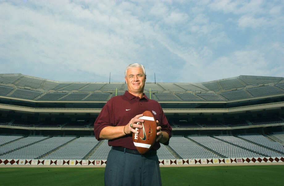 Dennis Franchione stands on the 20-yard line of  of Kyle Field on the A&M campus in College Station on May 21, 2003. Franchione has been named the Aggies head coach. Photo: John Davenport, San Antonio Express-News / SAN ANTONIO EXPRESS-NEWS