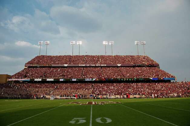 Student section of Kyle Field in College Station is seen before a game between Texas A&M and SMU on Sept. 4, 2011. The Aggies beat SMU 46-14. Photo: Dave Einsel, Associated Press / FR43584 AP