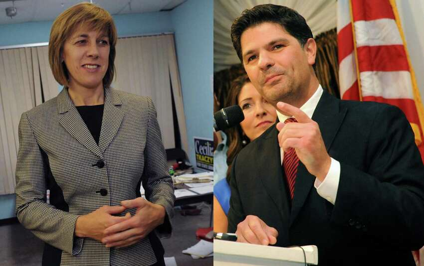 Composite image showing N.Y. Senate 46th district candidates, Celicia Tkaczyk (D), left, and George Amedore (R), right. (Michael P. Farrell/Times Union)