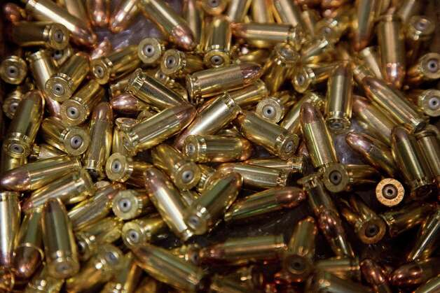 A box of 9mm bullets sits on display at the 35th annual SHOT Show, Tuesday, Jan. 15, 2013, in Las Vegas. The National Shooting Sports Foundation was focusing its trade show on products and services new to what it calls a $4.1 billion industry, with a nod to a raging national debate over assault weapons. Photo: Julie Jacobson, (AP Photo/Julie Jacobson) / Associated Press