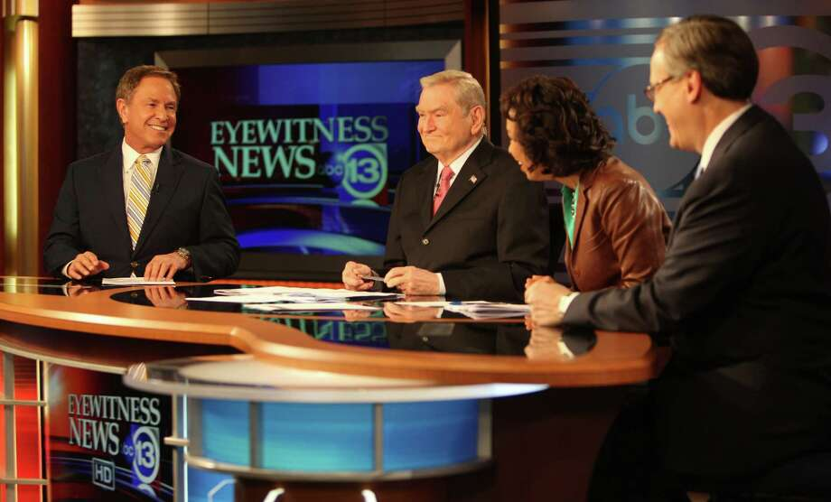 Channel 13 Sports Anchor Bob Allen chats with News Anchors Dave Ward, Gina Gaston, and Tim Heller during a commercial break on Wednesday, Jan. 16, 2013, in Houston. Photo: Mayra Beltran, Houston Chronicle / © 2013 Houston Chronicle
