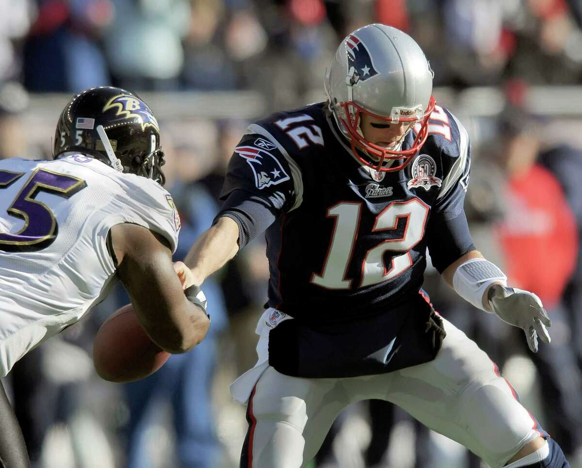 Ravens playmakers such as Terrell Suggs, left, concern Patriots QB Tom Brady.