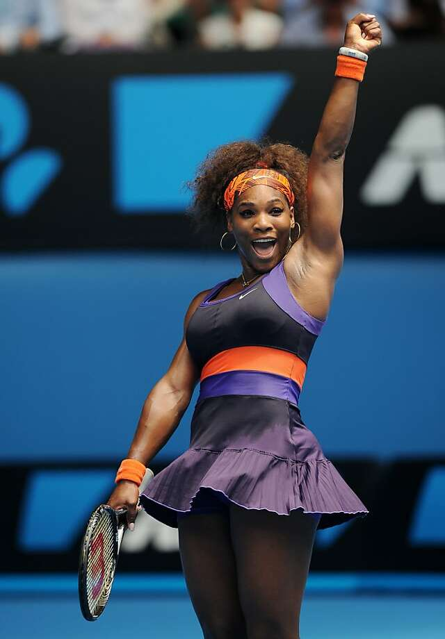 Serena Williams exults after beating Garbine Muguruza in straight sets. Photo: Andrew Brownbill, Associated Press