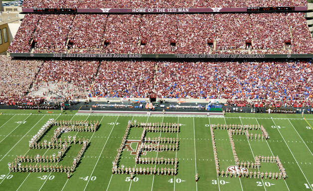The Texas A&M marching band spells out SEC during halftime against Florida on Sept. 8, 2012, at Kyle Field in College Station. Florida beat A&M 20-17 in the Aggies' first Southeastern Conference game. Photo: Dave Einsel, Associated Press