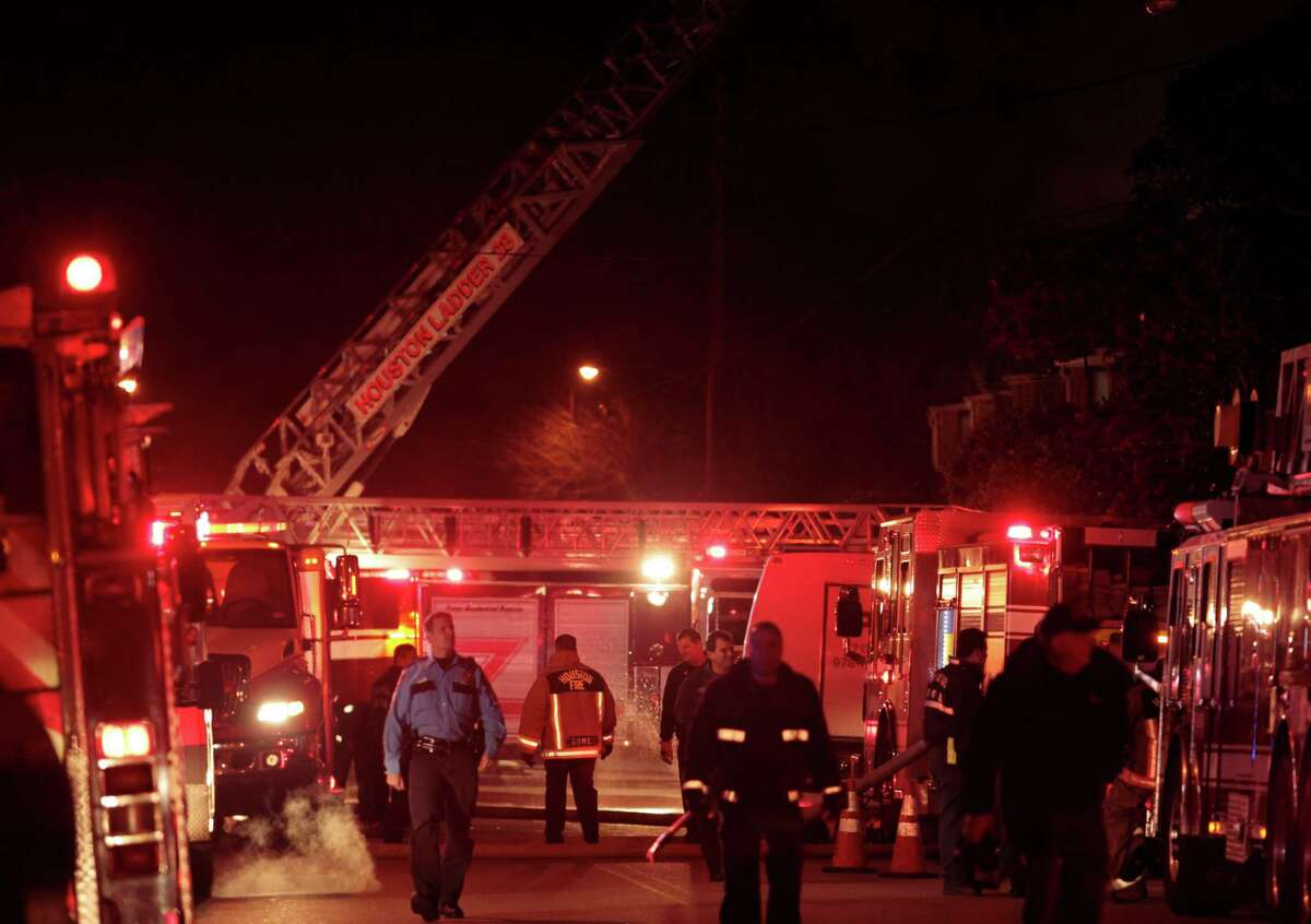 Houston Firefighters fight a three-alarm blaze Wednesday night at a west Houston complex. The fire started at a complex in the 2700 block of Crossview near Westheimer in Houston, Texas. The cause of the fire wasn't immediately known.