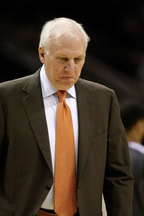 San Antonio Spurs head coach Gregg Popovich reacts during a break against the Memphis Grizzlies at the AT&T Center, Wednesday, Jan. 16, 2013. Photo: Jerry Lara, San Antonio Express-News / © 2013 San Antonio Express-News