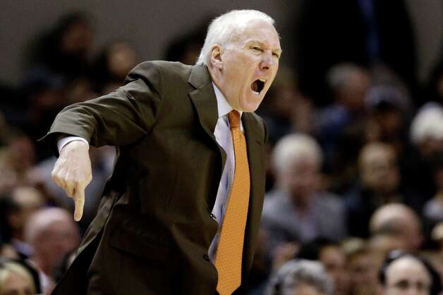San Antonio Spurs head coach Gregg Popovich yells during the second quarter of an NBA basketball game against the Memphis Grizzlies, Wednesday, Jan. 16, 2013, in San Antonio. Photo: Eric Gay, Associated Press / AP