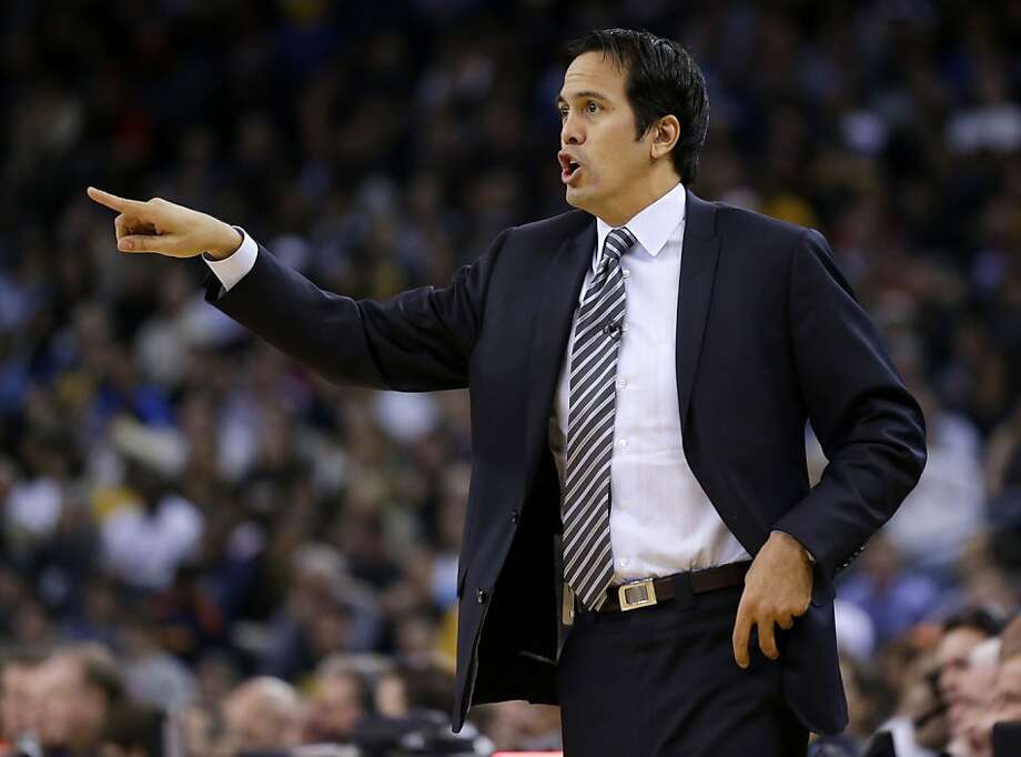 Miami Heat head coach Erik Spoelstra directs his team against the Golden State Warriors during the first half of an NBA basketball game in Oakland, Calif., Wednesday, Jan. 16, 2013. (AP Photo/Marcio Jose Sanchez) Photo: Marcio Jose Sanchez, Associated Press