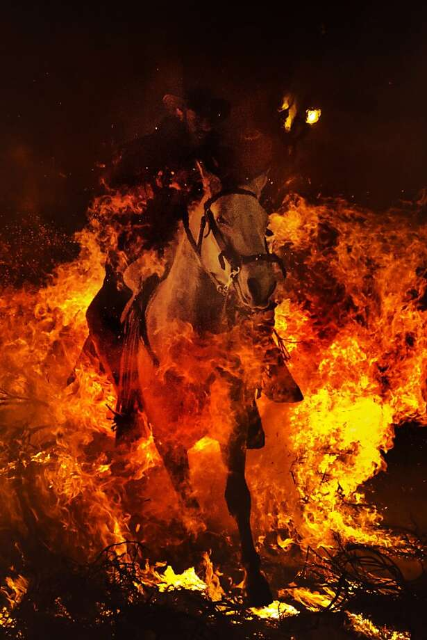 "A man rides a horse through a bonfire in San Bartolome de Pinares, Spain, Wednesday, Jan. 16, 2013, in honor of Saint Anthony, the patron saint of animals. On the eve of Saint Anthony's Day, hundreds ride their horses trough the narrow cobblestone streets of the small village of San Bartolome during the ""Luminarias"", a traditional festival that dates back 500 years and is meant to purify the animals with the smoke of the bonfires, and protect them for the year to come. Photo: Daniel Ochoa De Olza, Associated Press"