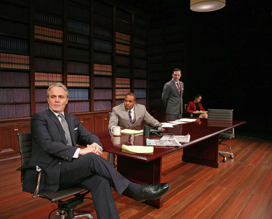 Wynn Harmon, left, Kevin Craig West, J. Anthony Crane and Shelly Thomas star in Race, at Capital Repertory Theatre Jan. 11 through Feb. 10, 2013, in Albany. (Joseph Schuyler)