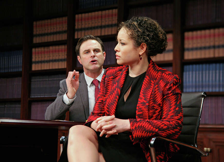 J. Anthony Crane, left, Shelly Thomas in Race, at Capital Repertory Theatre Jan. 11 through Feb. 10, 2013, in Albany. (Joseph Schuyler)