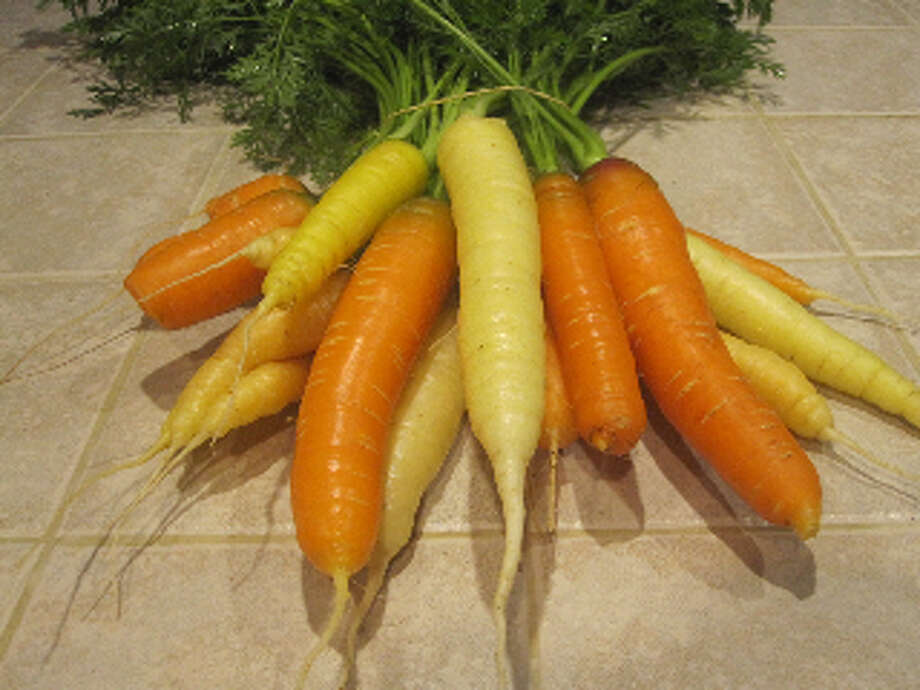 Rainbow carrots are a mix of different-color, medium-size good-tasting roots.