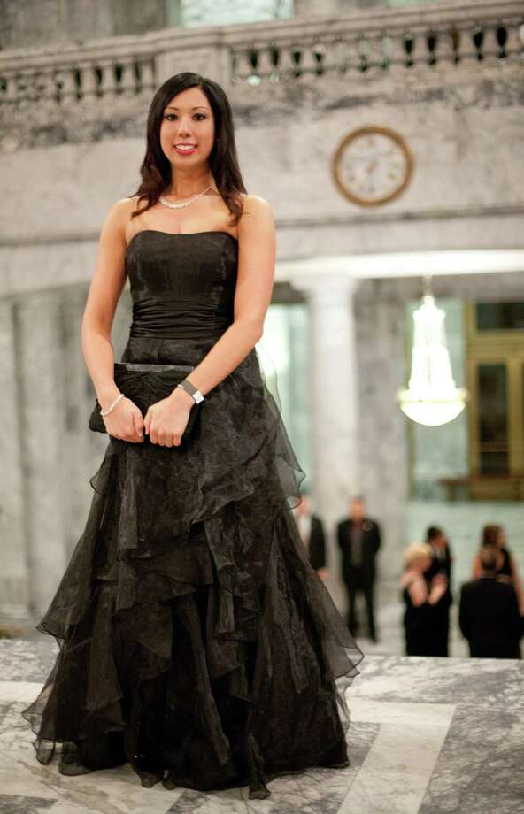 Malia Depalma is shown with her dress in the Rotunda. Photo: JOSHUA TRUJILLO, SEATTLEPI.COM / SEATTLEPI.COM