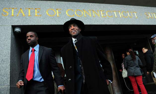 Former Bridgeport state Sen. Ernest E. Newton II leaves Hartford Superior Court Thursday, Jan. 17, 2013 after a judge entered a not guilty plea for Newton to charges he fraudulently obtained thousands of dollars in public funds to finance a failed comeback campaign for his old seat last year. Photo: Autumn Driscoll / Connecticut Post