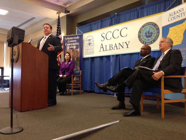 Albany Co. Executive Dan McCoy announced Thursday Jan. 17, 2013, that Schenectady County Community College have reached an agreement that will allow the college to set up a satellite in downtown Albany. (Paul Buckowski / Times Union) Photo: (Paul Buckowski / Times Union)
