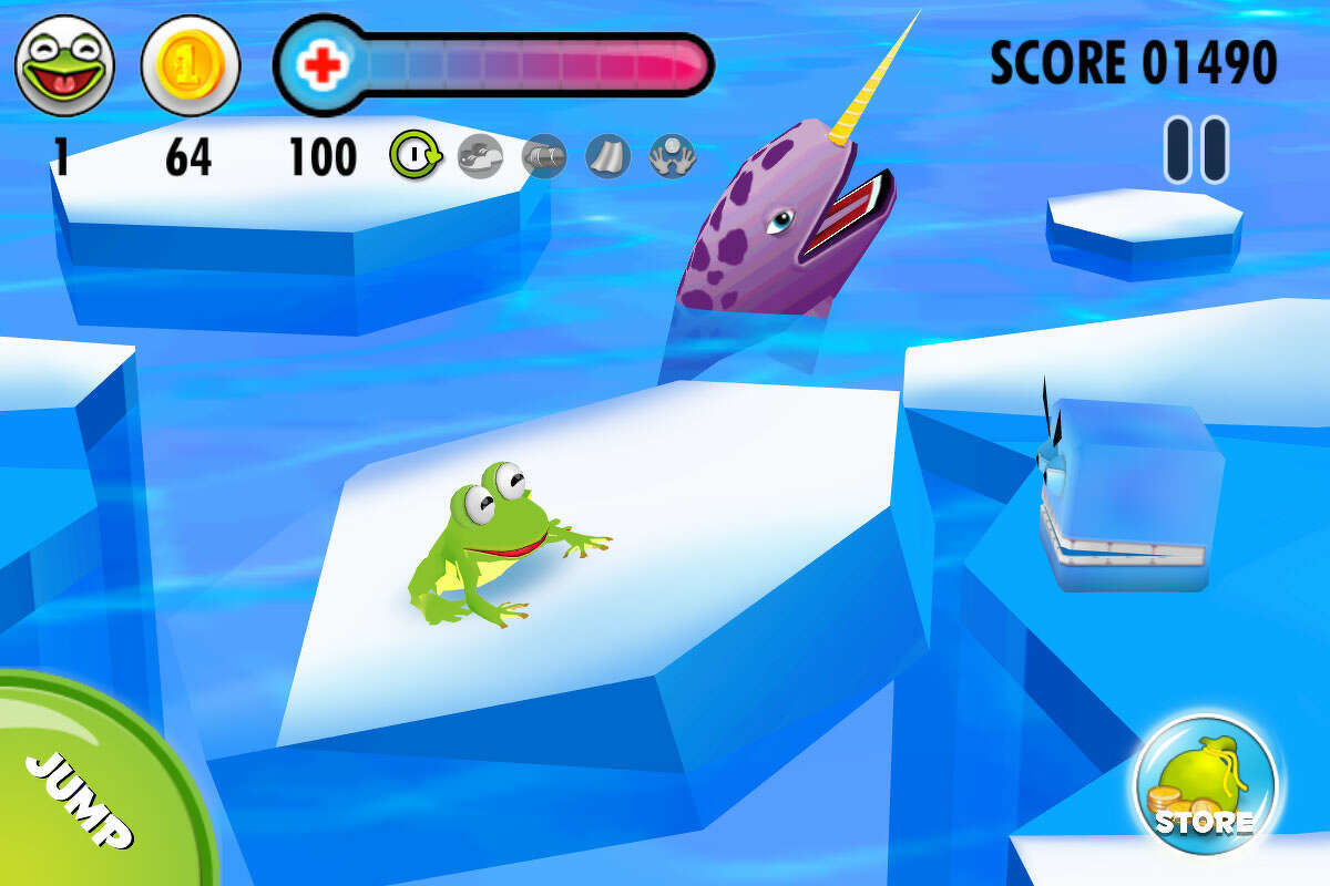 """Screenshot for the game app """"Frog on Ice."""" The app is by SpinFall, a local independent mobile gaming company run by Franklin Lyons and his wife Stephanie Lyons out of their San Antonio home."""