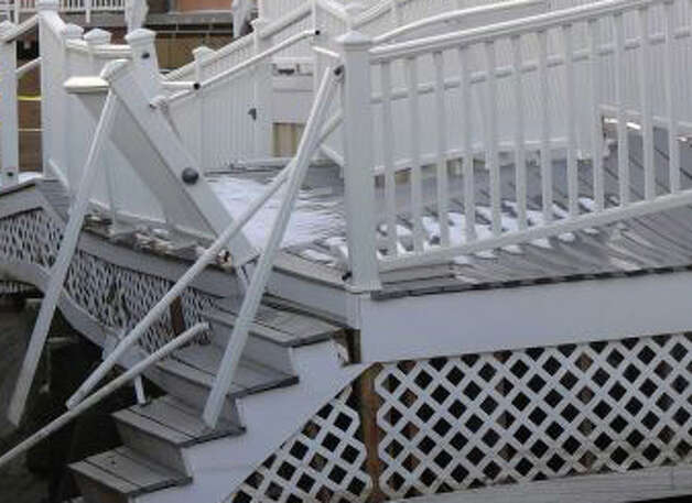 While damage to the deck of Penfield Pavilion is more visible, the more serious problem there is the undermining of pilings that support the structure. The finance panel was especially interested in that. Photo: File Photo / Fairfield Citizen