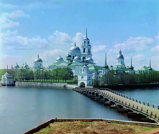 This Svetlitsa monastery was one of the many buildings captured by Russian photographer Sergei Mikhailovich Produkin-Gorskii as he traveled his countryside in the early 1900s. Hundreds of such color images exist due to work done by the Library of Congress. About two dozen of them are on view in Greenwich at the Les Beaux Arts Gallery through Thursday, Feb. 14. For more information, call 203-869-1091. Photo: Contributed Photo