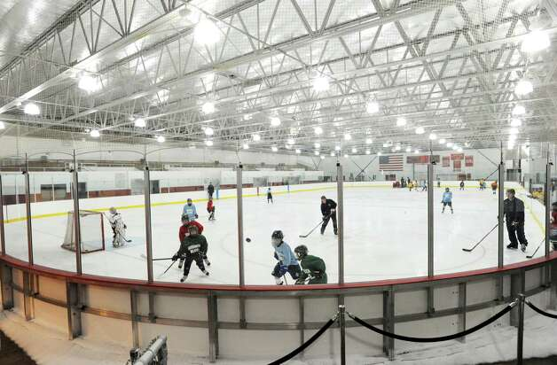 Squirt hockey practice at Dorothy Hamill Rink in Byram, Wednesday night, Jan. 16, 2013. A new multi-ice surface arena is proposed for Rye Brook, N.Y., right on the town line with Greenwich. Photo: Bob Luckey / Greenwich Time