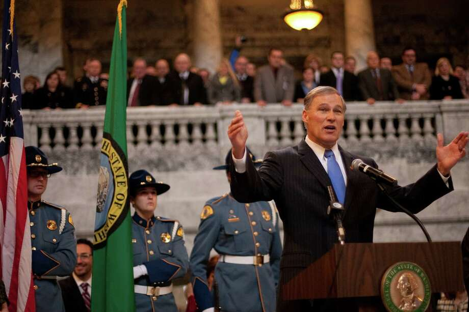 Washington State Governor Jay Inslee addresses people gathered during his inauguration on Wednesday, January 16, 2013 in the rotunda of the State Capitol building. Photo: JOSHUA TRUJILLO, SEATTLEPI.COM / SEATTLEPI.COM