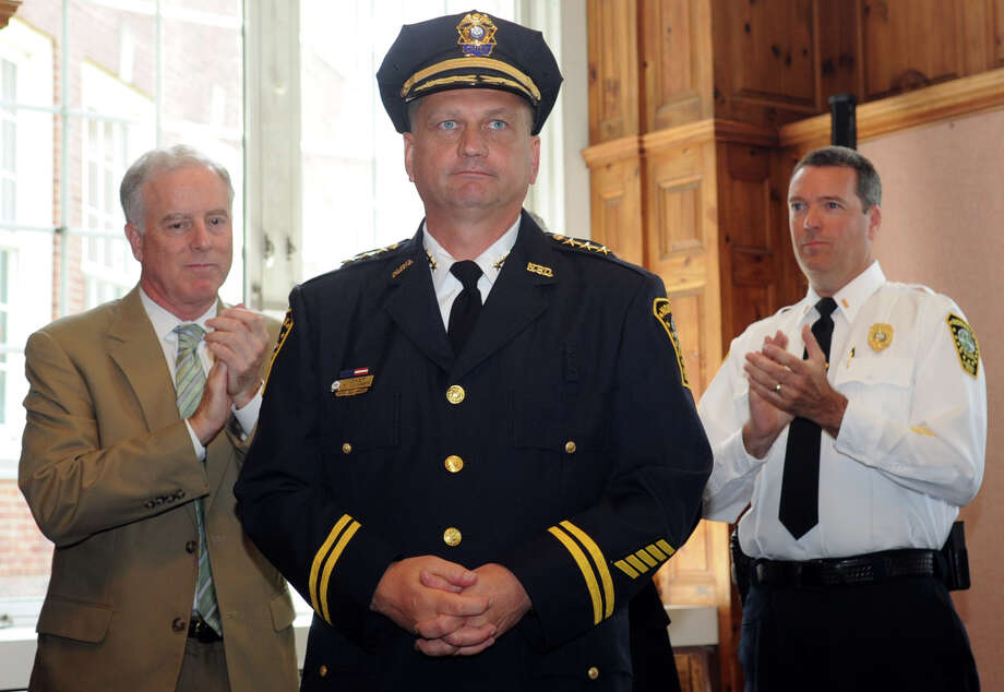 Thomas Kulhawik is sworn in as Norwalk Police Chief during a ceremony at Norwalk City Hall on Wednesday, July 11, 2012. Kulhawik will replace Harry Rilling, who resigned after serving in the department for 17 years. Photo: Lindsay Niegelberg / Stamford Advocate