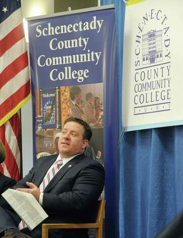 Albany County Executive Dan McCoy waits for his turn to speak at an event at the Albany County office building at 112 State St. on Thursday, Jan. 17, 2013 in Albany, NY.  The event was held to announce a new partnership between the county and Schenectady County Community College to create a classroom space for SCCC's new downtown Albany location.  The college will use space on the second floor of the county office building for classrooms.   (Paul Buckowski / Times Union) Photo: Paul Buckowski  / 00020810A