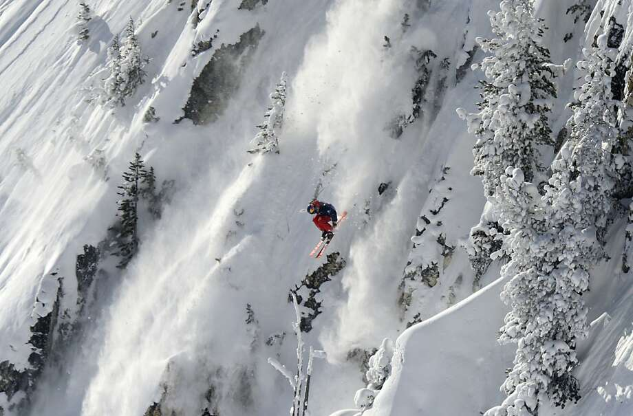 There's a thin line between skiing and plunging off a cliff:Sam Favret of France takes his chances on Cirque de Fond Blanc at Les Arcs ski resort in the French Alps. Photo: Philippe Desmazes, AFP/Getty Images