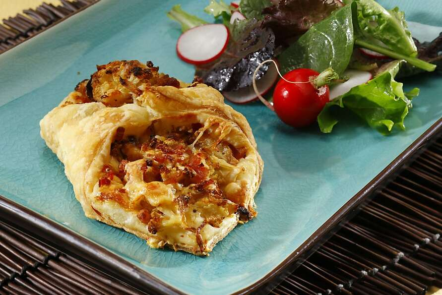 Cauliflower in Puff Pastry, roasted with bacon and cheese, makes a light supper dish with a fresh sa