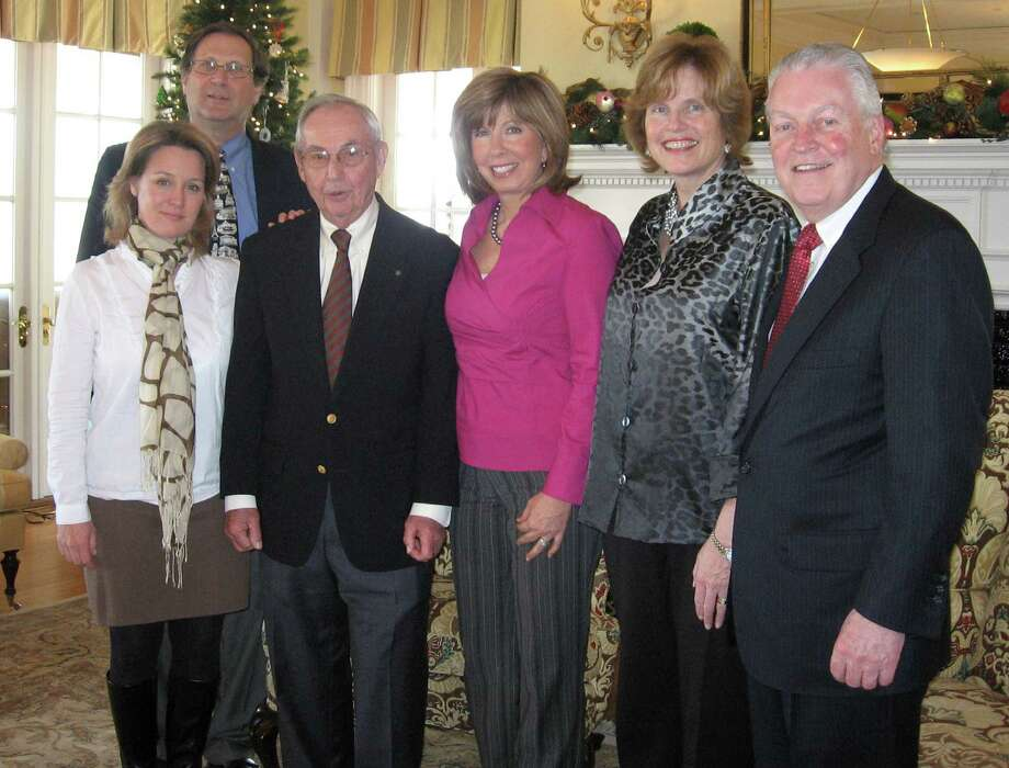 The Greater Fairfield Board of Realtors installed its officers for its 2013 board of directors at its Past Presidents Annual Luncheon held in mid-December. The new appointees include, left to right, Stephanie Barnes, vice president; Robert Stone, president-elect; Eugene Richter, treasurer; Cathy Van Tornhout, secretary; and Mary Beth Grasso, president. First Selectman Michael Tetreau, last on right, acted as the installing officer. Photo: Contributed Photo